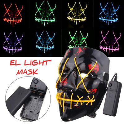 LED Glühend leuchtet Flash EL Wire Horror Party Halloween Maske Kostüm Cosplay Q