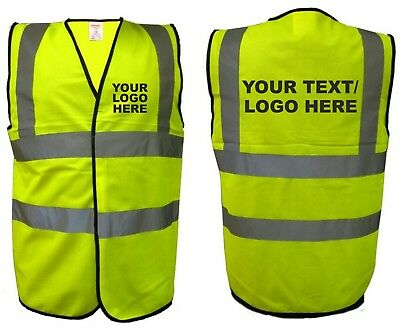Personalised Workwear Logo / Own Text Safety High Viz Vest / Waist Coat  M - 4Xl