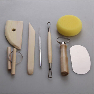 8Pcs Wood Metal Pottery Clay Ceramics Molding Carving Sculpting Tools Hot B
