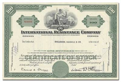 International Resistance Company Stock Certificate (Rocket Vignette)