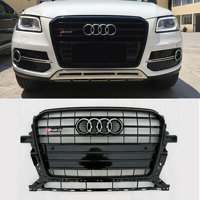 Black Front Upper Strip Grille SQ5 Style Grill For Audi Q5 Silver Ring 2013-2017