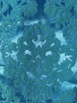 Pair Vintage Brocade Blue Green Curtains 42in By 62in