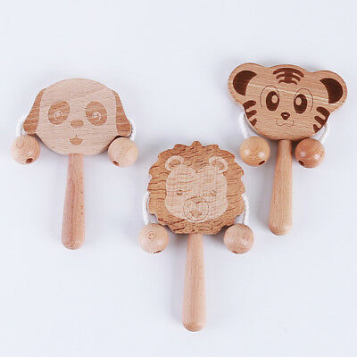 Wooden Rattles Shaker Percussion Kids Baby Musical Toy 6A