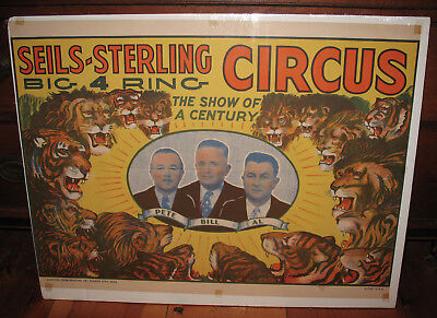 "Vintage Original Seils-Sterling 4 Ring Circus Poster 26"" x 19.5"" - Beautiful"