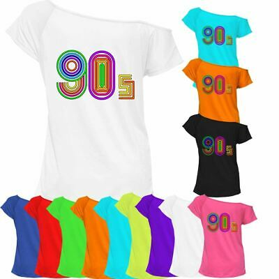 90s Lovers 1990s T-shirt Top Off Shoulder Ladies Womens Retro Outfit 6906 Lot