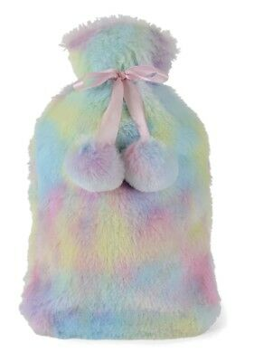 2 Litre Hot Water Bottle with Plush Rainbow Cover