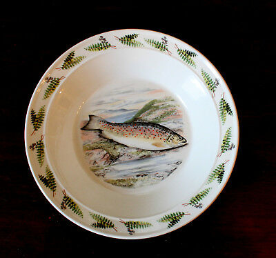 Early Portmeirion Compleat Angler Fish 8 1/2 Inch Soup Bowl - Trout & Ferns