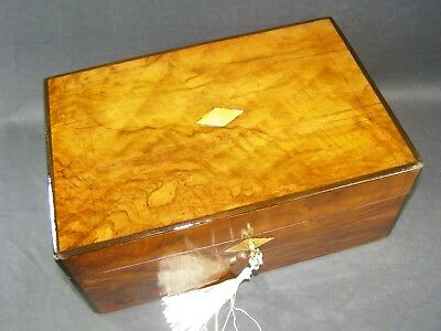 Antique Walnut Box Working Lock & Key C1880  Mother Of Pearl Center & Key Plate