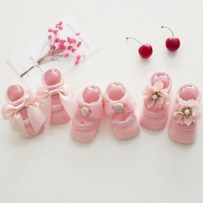 3 Pairs Baby Girl Boy Newborn Lovely Anti-slip Cotton Socks 6A