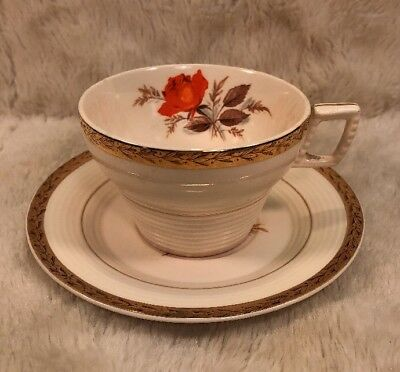 Vintage TRIUMPH AMERICAN LIMOGES Tea Cup & Saucer Set Vermillion Rose 22K Gold