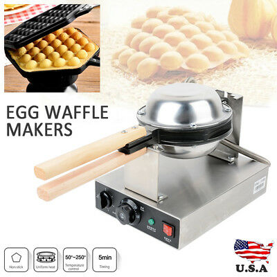 Commercial Electric Stainless Steel Ice Cream Egg Waffle Cone Maker Machine 110V
