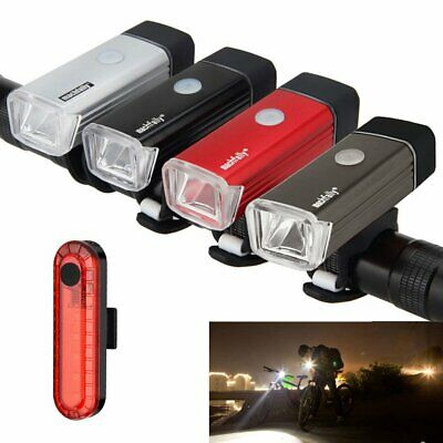 Bike Bicycle Front Back Lights USB LED Rechargeable Set Bright Headlight MTB