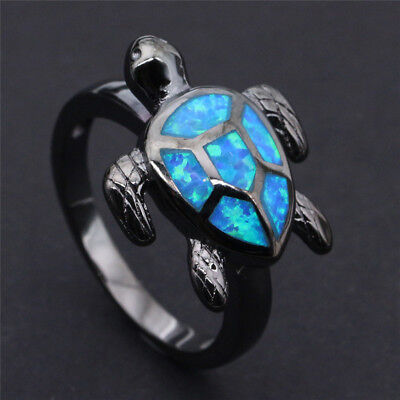 Fashion Ocean Blue Fire Opal Turtle Black gold fill Ring Men Womens Wedding Band