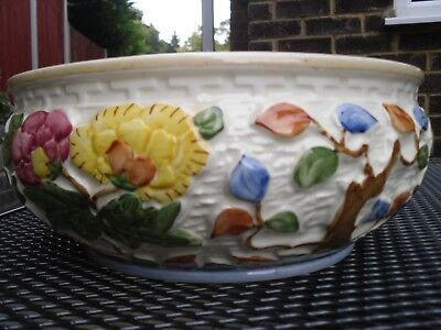 H J Wood 'Indian Tree' hand painted Fruit Bowl Staffordshire Pottery 25cms