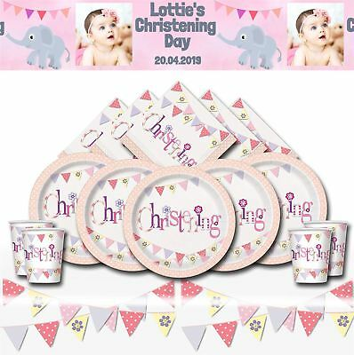 Girls Pink Christening Party Tableware Bunting Celebration Decorations Plates