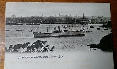 POST CARD B&W- SWAINE & CO SYDNEY 'A GLIMPSE OF SYDNEY FROM NEUTRAL BAY'  with S