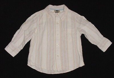EUC Baby GAP Boys Ivory & Beige Striped Linen Button Down Dress Shirt 12-18 M