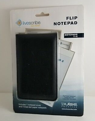 Livescribe Flip Notepads 1-4 Cover & Dot Paper Black for Pulse Smartpen NEW