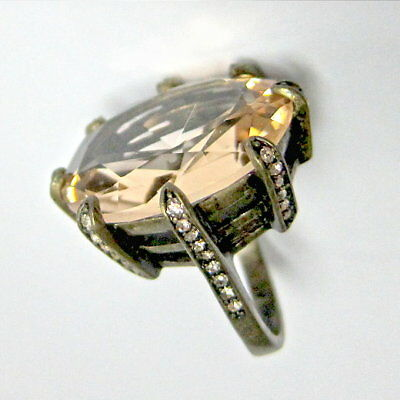 Antique Bronze Tone Huge Champagne Cubic Zirconia Cocktail Ring (US Size # 7.5)