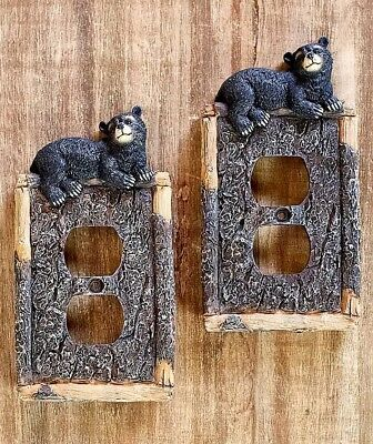 Set Of 2 Outlet Covers Black Bear Lodge Log Cabin Rustic Home Decor