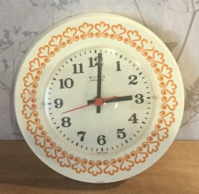 VINTAGE 1970s WEIMAR WALL CLOCK, FUNKY ORANGE DESIGN, MADE IN GDR