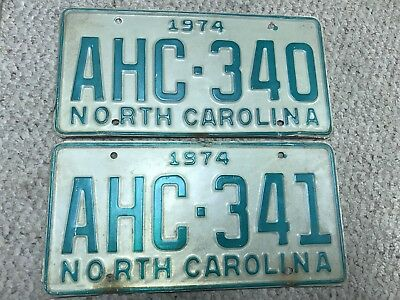 1974 NC Vintage License Plates 2 Consecutive Sequential Antique Tags