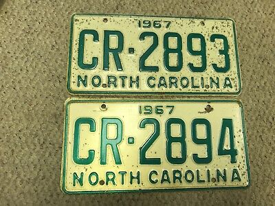 1967 Vintage NC Antique Sequential Consecutive License Plates 2 Tags