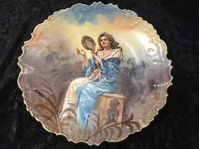 Stunning LRL Limoges Portrait Charger Plaque, Hand Painted, Artist Signed