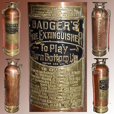 Vintage Badger's Fire Extinguisher Copper With Brass Base Filler Handle