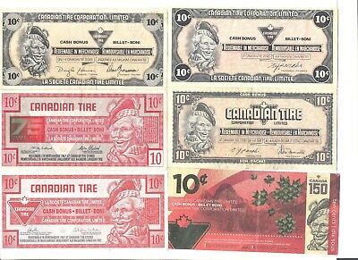 Lot of 6 different 10¢ Canadian Tire redemption coupons paper money