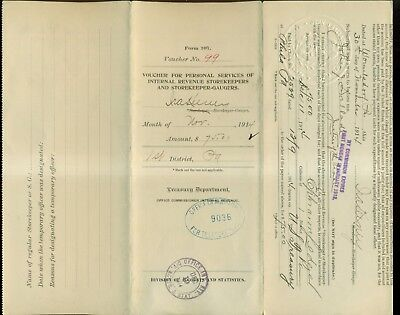 1914 Treasury Department Agent's Vouchers for Personal Services - 12 Diff.