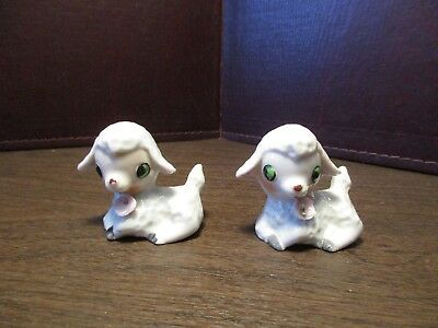Pair of Vintage Ceramic Easter Lambs Figurine - Laying Down - Sheep - JAPAN