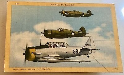 "Luke Field, Arizona ""In Echelon We Carry On"" 1942 Photo Vintage Postcard"