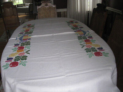 Vintage Hand EMBROIDERED  Linen Tablecloth 72x84 in.