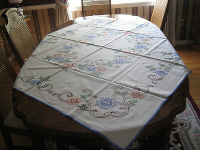 Antique/Vintage, Hand Embroidered, Linen Tablecloth 52 x 58 in.