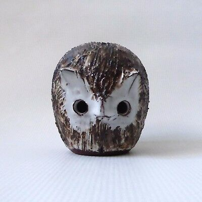 Old Briglin Pottery Animal Owl(red clay)Vintage moneybox brown/cream + signed