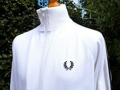 Fred Perry White Twin Taped Track Jacket - L/XL - Ska Mod Scooter Casuals Skins