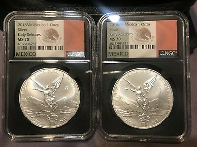 2018 Lot Of 2 1Oz Onza  Mexico Silver Libertad Ngc Ms70 Early Release Flag Label