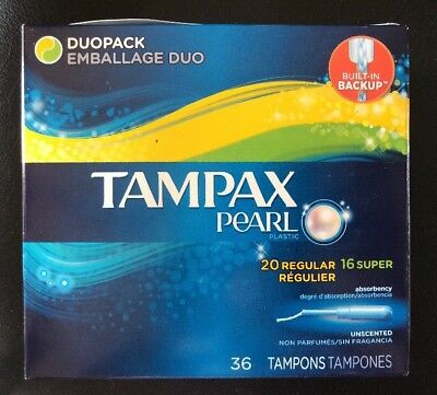 Tampax Pocket Pearl Plastic Tampons, Regular Absorbency, Unscented, 36 Count