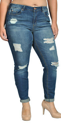 Womens Stretch Pull-on Skinny Ripped Distressed Denim Jeans