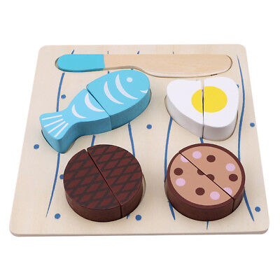 Kids Kitchen Wooden Pretend Role Play Set Cutting Food Puzzle Toy 6A