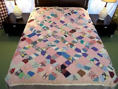 RUSTIC Feed Sack SNOWFLAKE Quilt, Machine Set & Quilted; Several Novelty Prints!