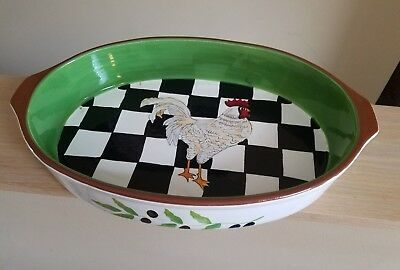Home Essentials Checkerboard Rooster Collection Oval Baking Dish