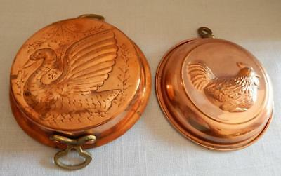 Lot of 2 Vintage Copper Molds With Brass Handles - SWAN - ROOSTER