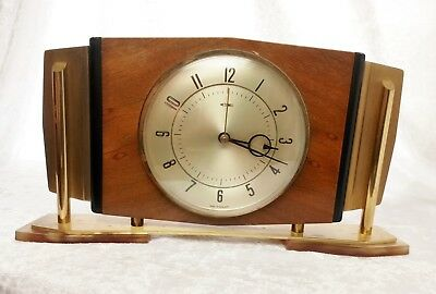 Vintage/Retro Metamec Mantle Clock Brass & Wood 1960s- Tested and working