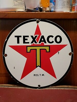 Vintage. TEXACO 1950s Gasoline and Oil Advertising Porcelain Sign