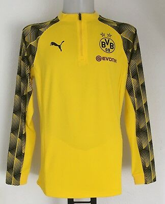 Borussia Dortmund 2017/18 Yellow 1/4 Zip Stadium  Top By Puma Size Xl New