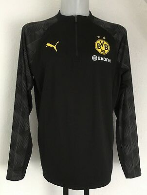 Borussia Dortmund 2017/18 Black 1/4 Zip Stadium  Top By Puma Size Large New