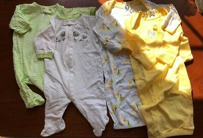 4 Piece Lot baby Clothes Newborn 0-6 GN VGUC Sleepers Pajamas bodysuits yellow