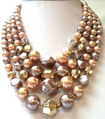 """Stunning Vintage Estate Signed Japan Faux Pearl Brown Tan 20"""" Necklace!!! 9864P"""